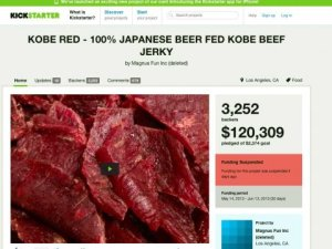 The Kobe Beef Kickstarter page, with over 3000 people pledging more than $120k to it.
