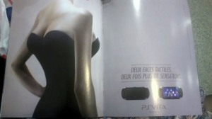"A Playstation Vita ad from France showing a woman with four breasts. The tagline is: ""Touch both sides. Twice the sensations."""