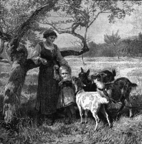 A black and white image of a woman eating an apple off a tree and a small girl trying to keep her apple being taken from her by some goats.