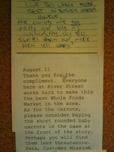 A complaint about the carrots.