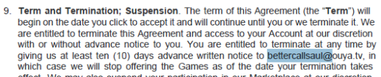 The marketplace agreement that clearly lists OUYA's legal contact address as bettercallsaul@ouya.tv