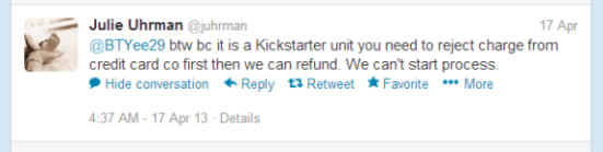 The tweet says that OUYA can't start the refund process, so the backer should chargeback on their credit card to get that refund.