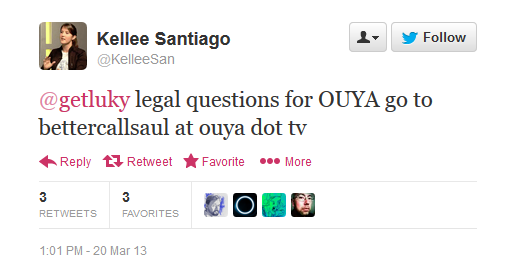 A developer is directed to the bettercallsaul@ouya.tv address for legal queries.