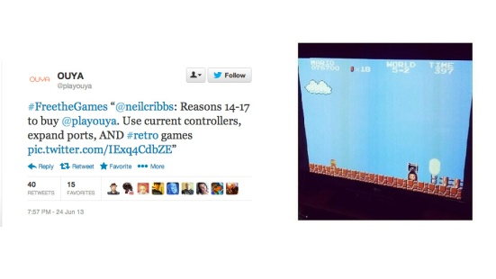 A tweet promoting game emulation and a screenshot of Super Mario Brothers that went through the official OUYA twitter.