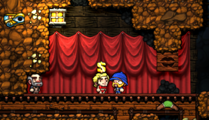 Inside a shop in Spelunky, wondering if it is worth the money to buy a Chippendale.