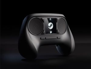 Valve's Steam Controller. It's black on a black background.