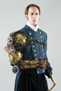 A steampunk man with a metal arm and wearing a military uniform.