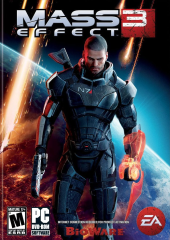 The cover art to Mass Effect 3 that everyone recognises because it has the male Shepherd.