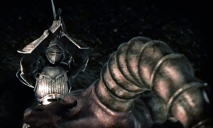 A knight raises his sword over what looks like to be his large, armoured penis. That's exactly what it looks like.