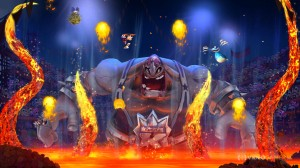 Rayman takes on a huge wrestler in a lava pit.