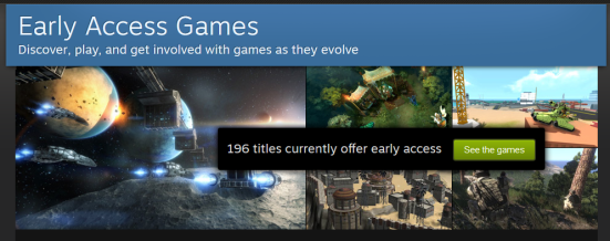 A screenshot of Steam's Early Access Games page, which is pretty minimal in terms of the information it covers.