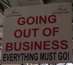 A 'Going Out of Business' sign.