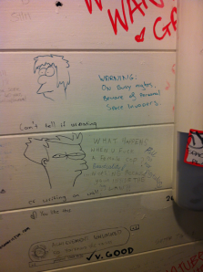 A picture of the Melbourne Mana Bar's male toilet wall. Or it could have been a unisex toilet.