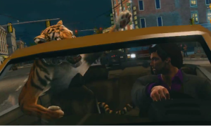 In Saints Row The Third you can be a chauffeur to a tiger. It's a lot more annoying than it sounds.