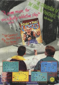 An ad for Psycho Pigs UXB which has the game held up over a women's breat. Two teenage boys are looking at the game.
