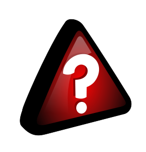 A white question mark in a red triangle.