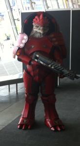 Someone cosplaying as a Krogan at PAX Aus.