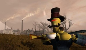 A robot in a top hat is drinking tea while also holding a shotgun.