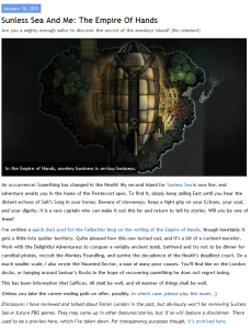 A screenshot of Richard Cobbett's blog titled: Sunless Sea and Me - An Empire of Hands