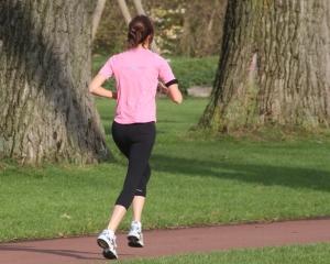 A woman running.